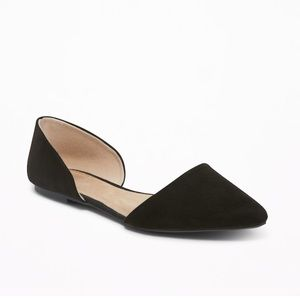 Faux Sued D'Orsay Black Point Toe Flats